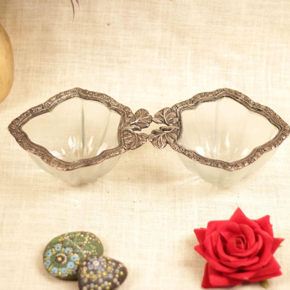 Metal Glass Dry fruit Bowl Set