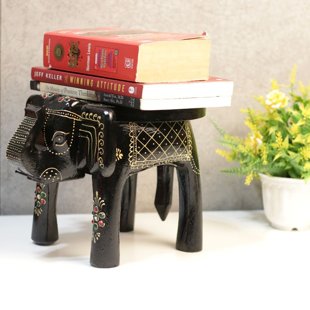 8' Wooden Colorful Elephant Stool