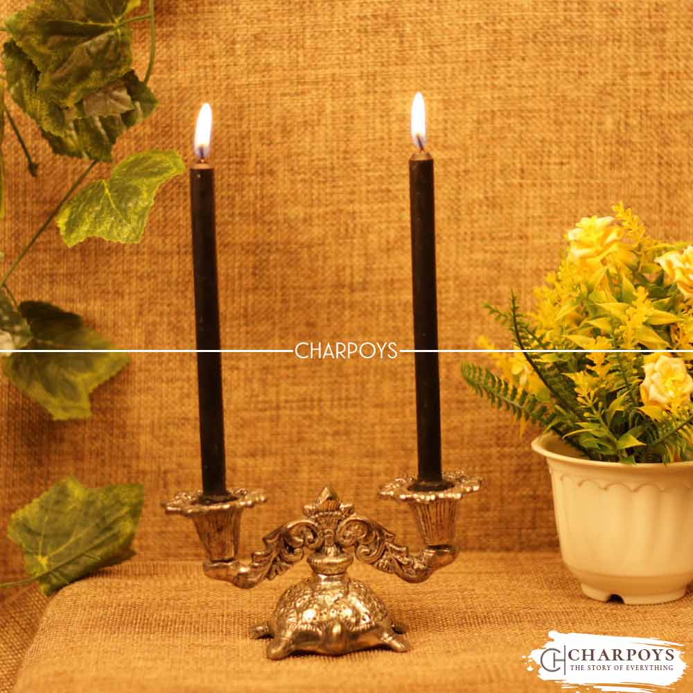 Metal Tortoise double Candle Holder