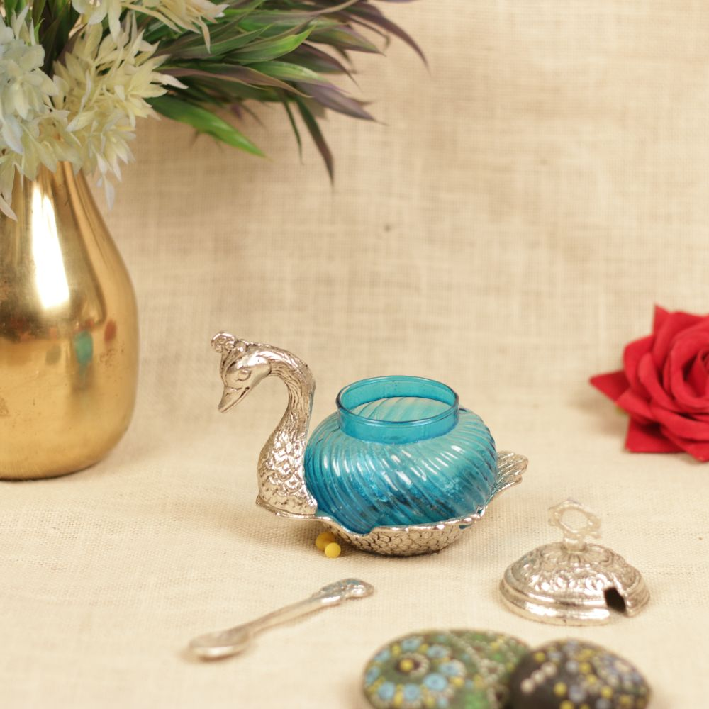 METAL SWAN DESIGN ROUND CONTAINER WITH SPOON