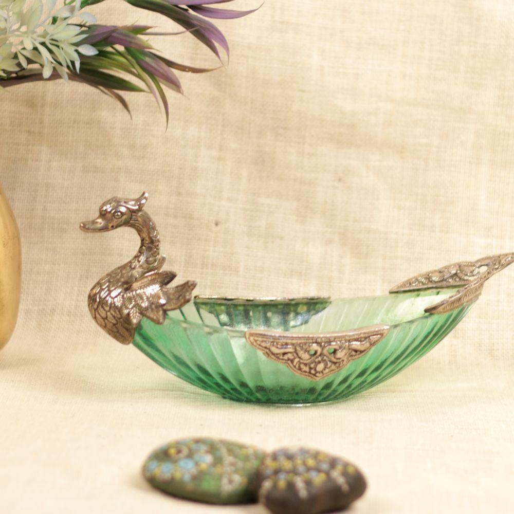 METAL GLASS SWAN DESIGNER BOWL
