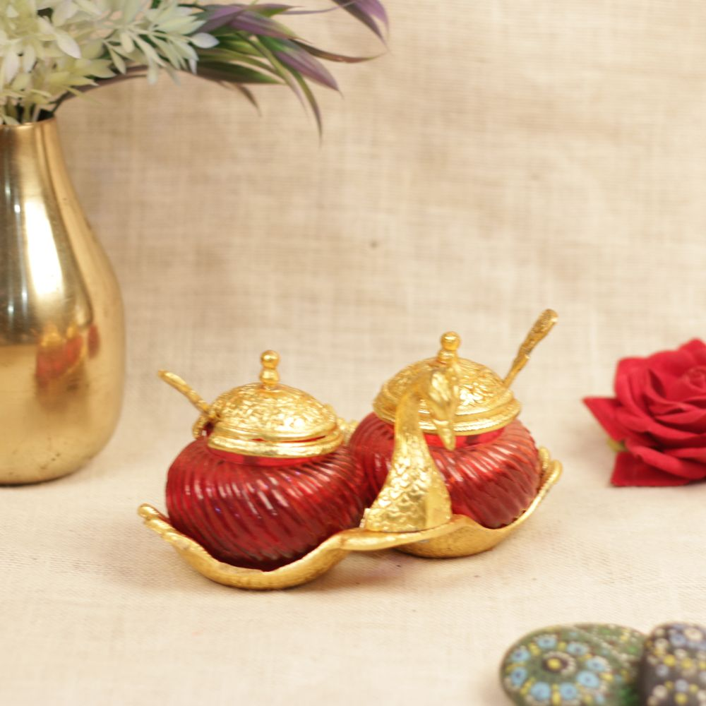 METAL SWAN TWO ROUND CONTAINER WITH SPOON