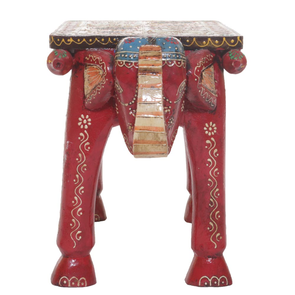 WOODEN ELEPHANT COLORFUL BENCH