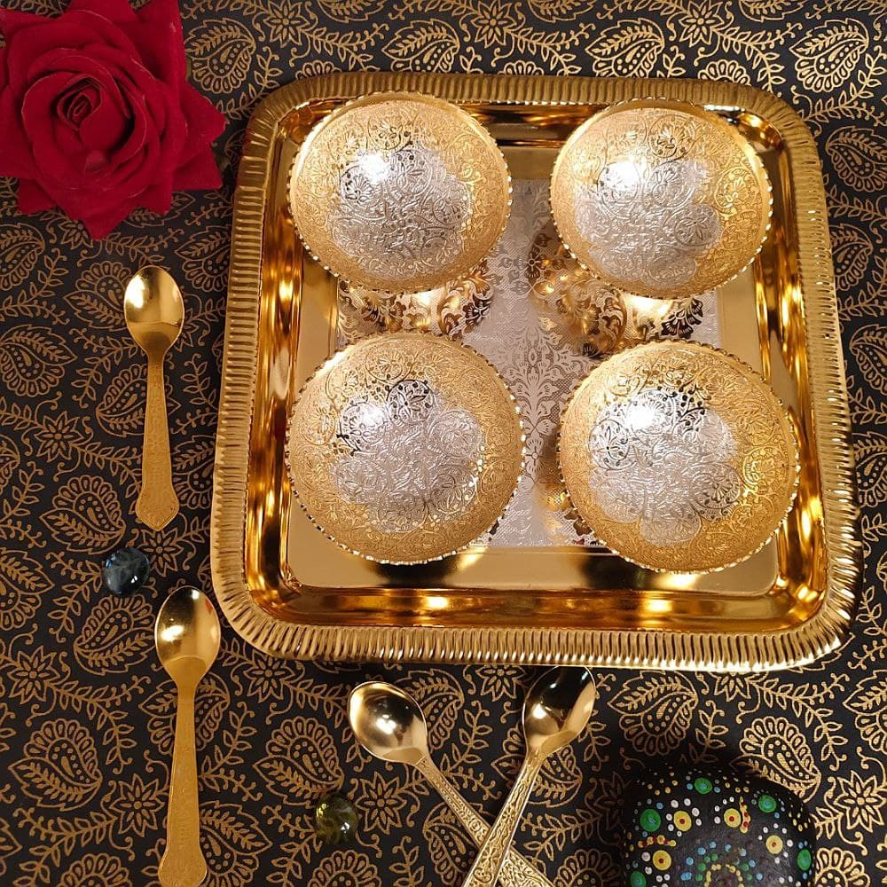 4 Pcs Dinner Bowl Set With Spoon & Tray